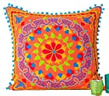 Embroidered Orange Cotton Suzani Indian Cushion Cover. 20' X 20'