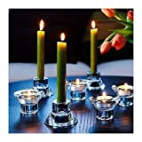 """Royal Glass (Set of 8) Unique Reversible Tea Light Candle Holder Design, 2"""" Height, Stackable, Romantic Atmosphere, Wedding, Modern Simple and Elegant…"""