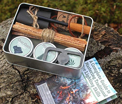 Bushcraft - Kit de iluminación para incendios - Compacto, tradicional, hecho a mano - incluye: molinillos naturales de alta calidad, acero al carbono, paño de carbono, barra de hierro hecha a mano