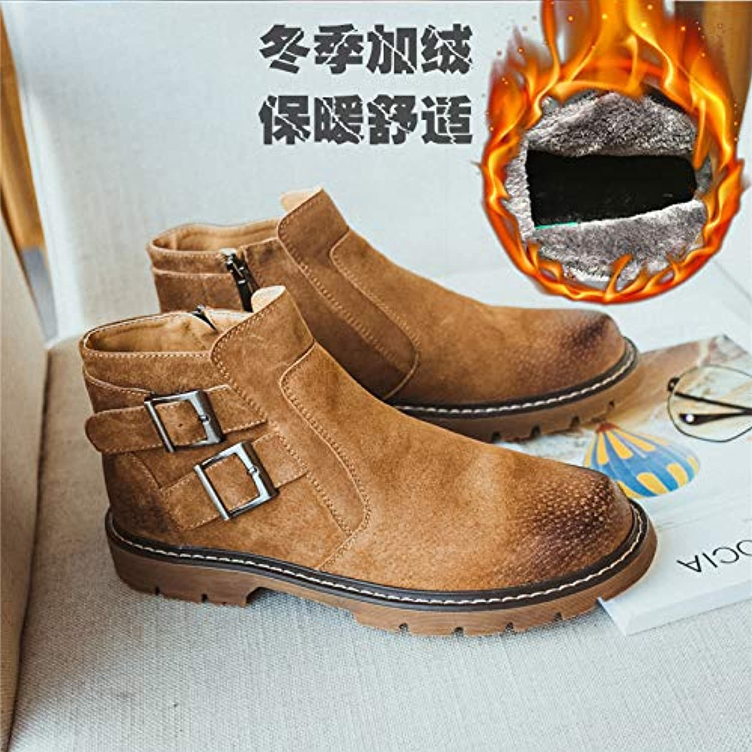 ZyuQ Ankle boots Scrub Martin Boots Men'S Boots High To Help Retro Short Boots Pu Casual Men'S shoes Snow Boots