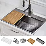 KRAUS KWT310-30 Kore Workstation 30-inch Drop-In or Undermount 16 Gauge Single Bowl Stainless Steel Kitchen Sink with Integrated Ledge and Accessories (Pack of 5)