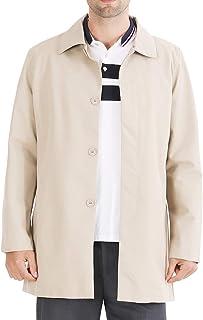 UNINEST メンズ コート ロング 防風 無地 撥水 ビジネス トレンチコート ジャケット ジャンパー アウター カジュアル おしゃれ