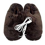 SUPVOX Fußwärmer Plüsch USB Elektrische Hausschuhe Baumwolle Plüsch Slippers für Alter Mann (Kaffee)