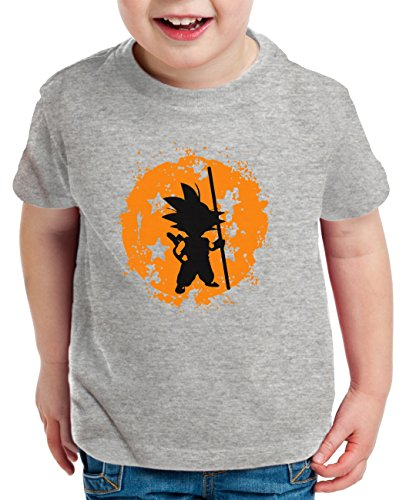 Son Bruch Kinder T-Shirt Goku Dragon Master Ball Vegeta Turtle Roshi Db, Farbe:Dunkelgrau Meliert;Kinder T-Shirt Größe:98/104