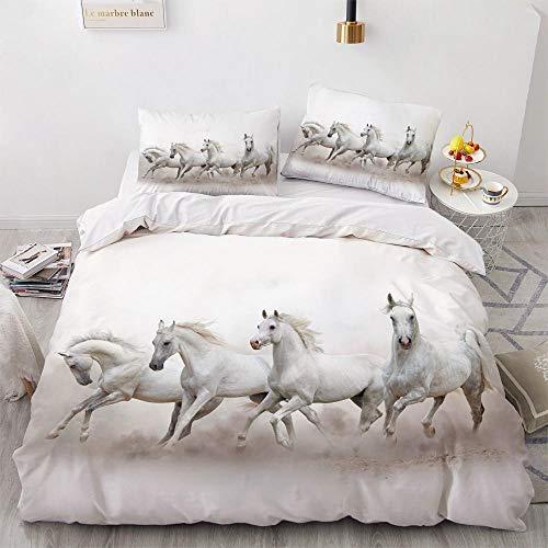 HGFHGD Blanco Animal Caballo Grupo Funda nórdica 3D sábana Funda de Almohada niños Adultos Cama Doble Grande y pequeña Juego de Tres Piezas
