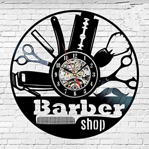Reloj de pared de vinilo creativo de 30 cm, idea de regalo para peluquero, peluquería, salón, peluquería, peinado, decoración artística, diseño de reloj, moda, música moderna, arte, registro, reloje