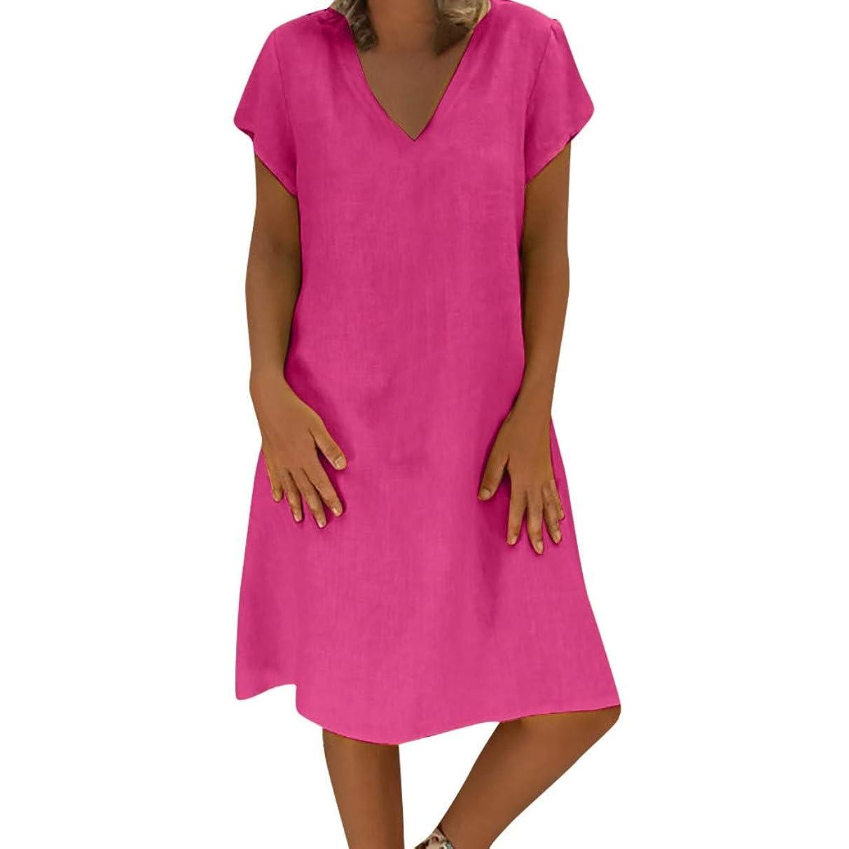 MURTIAL Women Dress Summer Style T-Shirt Cotton Linen Casual Plus Size