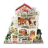 MEILINL Maison de Bricolage 3D Dollhouse avec Lumière LED Kit Maison Miniature de Poupée en Bois Maison Villa avec Musique Jouets éducatifs (34 * 30 * 24 CM),Without Dustcover