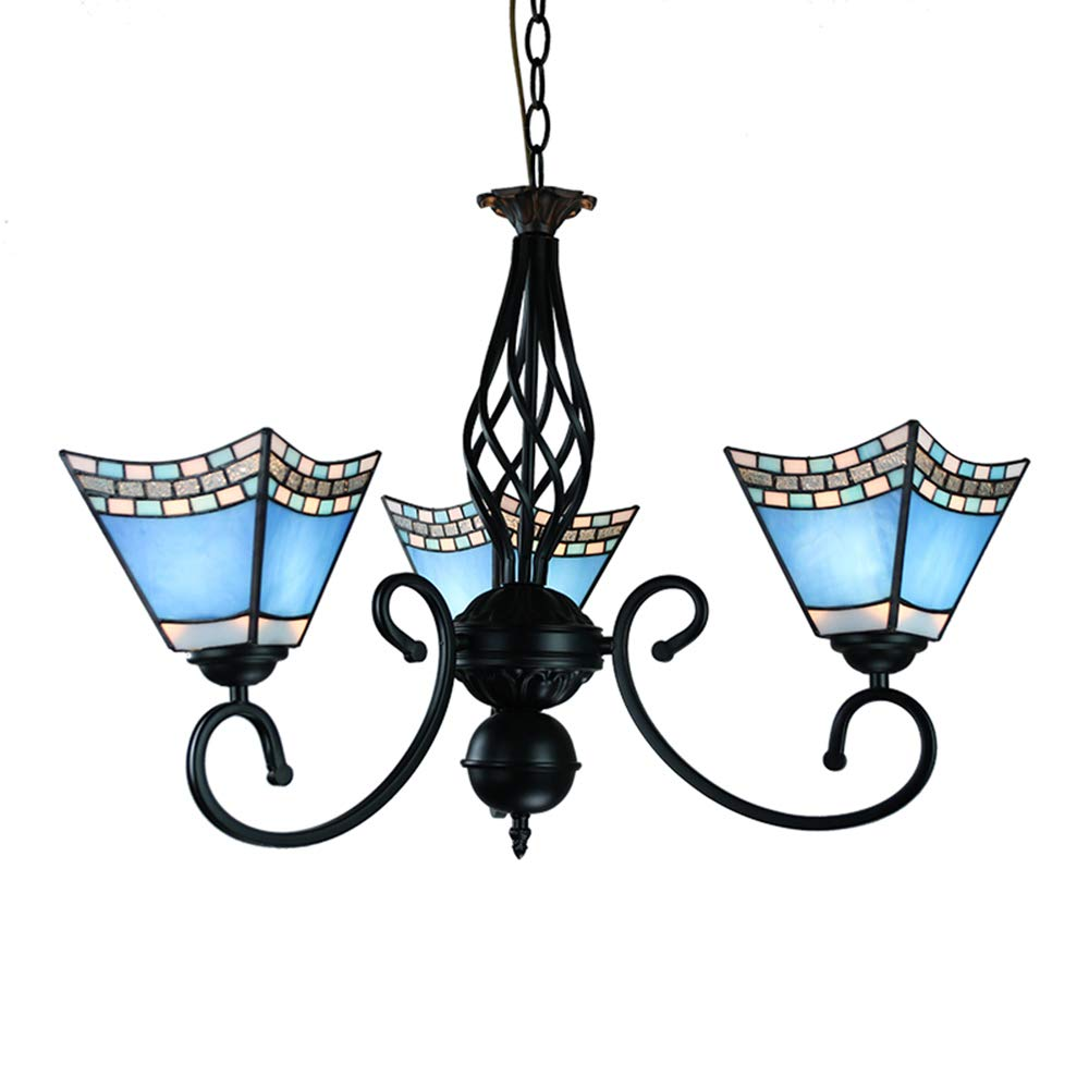 CCSUN Blue Estilo Tiffany Lámpara De Colgante, 3 luces