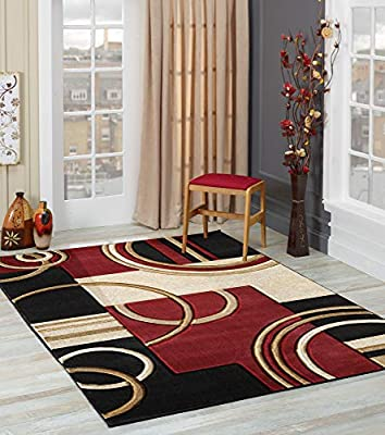 GLORY RUGS Area Rug Modern 5x7 Dark Red Soft Hand Carved Contemporary Floor Carpet with Premium Fluffy Texture for Indoor Living Dining Room and Bedroom Area