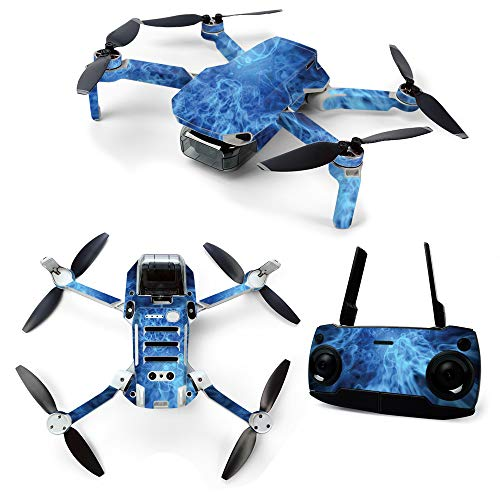 MightySkins Skin for DJI Mavic Mini Portable Drone Quadcopter - Blue Mystic Flames | Protective, Durable, and Unique Vinyl Decal wrap cover | Easy To Apply, Remove, and Change Styles | Made in the USA
