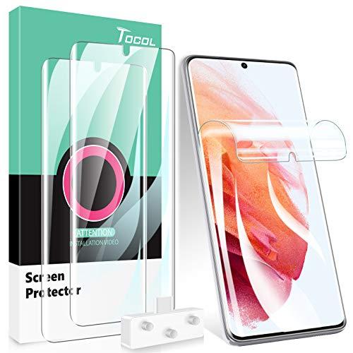TOCOL 3 Stück Schutzfolie kompatibel mit Samsung Galaxy S21 Plus 5G 6.7 Zoll, Fingerabdruck-ID TPU Schutzfolie Blasenfrei