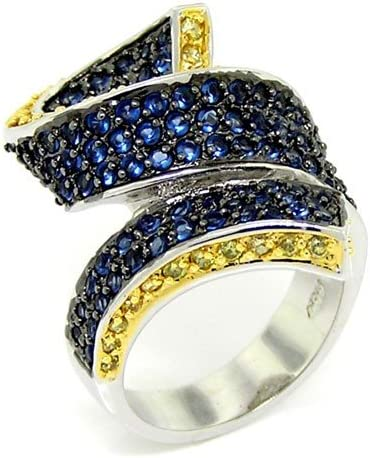 2-tone Curly Ribbon Cocktail Ring Gold New life w CZs Easy-to-use pav?Blue