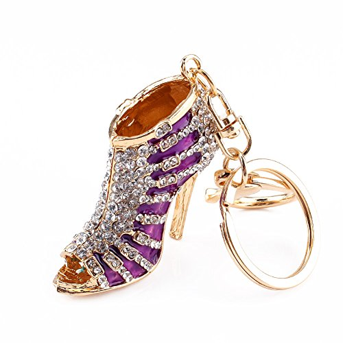 Yosoo Owl Keychain Rhinestone Crystal Keyring Key Ring Chain Bag Charm Pendant Gift (High-Heeled Shoes- Purple)