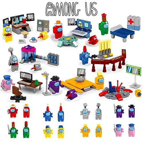RICODEI Building Blocks Set, 8 Space Alien Figures Peluche Game Model Kit Bricks Kids Toy Gift