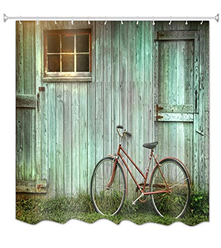 A.Monamour Cortinas de Ducha Bicicleta Vieja Apoyada Contra Grunge Granero Verde Puerta De Tablones De Madera Imagen Retra Espesar Larga Tela Poliéster Cortina De Ducha Impermeable, No Peva 180x200 cm