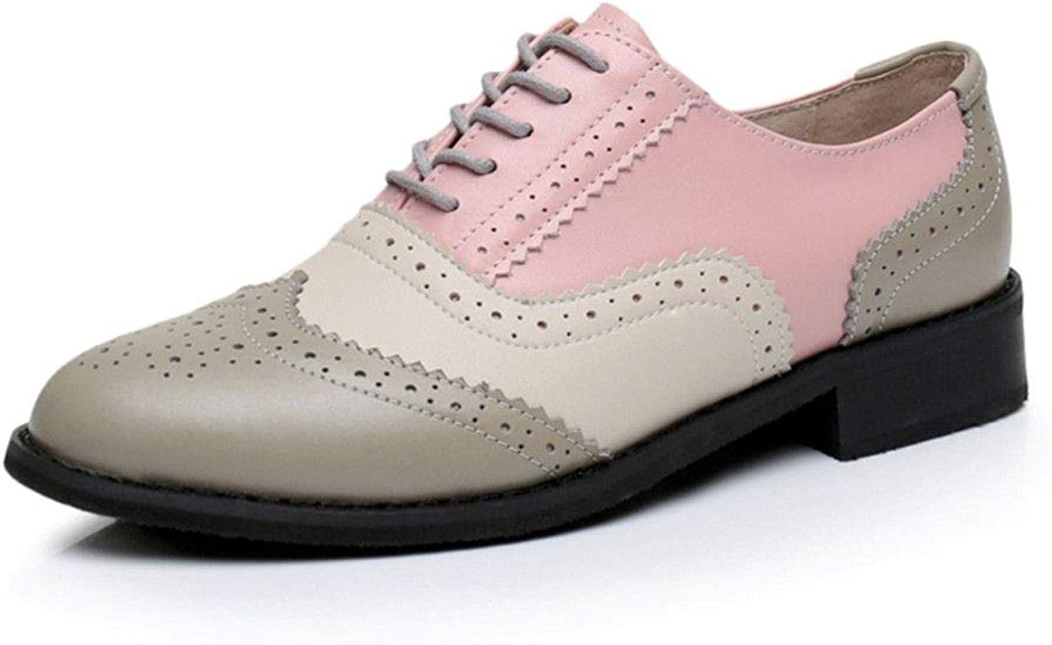 Sam Look Spring shoes Women Oxford Flat for Woman Genuine Leather Flats Summer Brogues Pink 5.5 M US