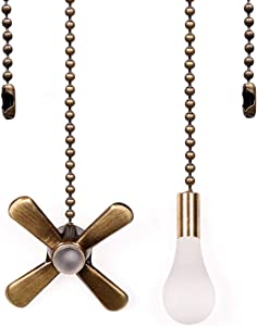 Ceiling Fan Pull Chain, Fan Pulls Set with Connector, 2 Pack 3mm Diameter 12 Inches Beaded Ball Fan Pull Chain Bronze