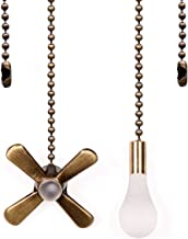Ceiling Fan Pull Chain, 13.6 Inches Fan Pulls Set with Connector, 2 Pack 3mm Diameter Beaded Ball Fan Pull Chain Bronze