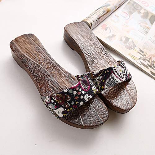 YXCKG Pantuflas De Punta Abierta Zapatillas De Mujer, Zuecos De Madera De Estilo Japonés para Mujer, Sandalias De Moda Zapatillas De Madera Zapatos, Zapatillas De Verano para La Playa