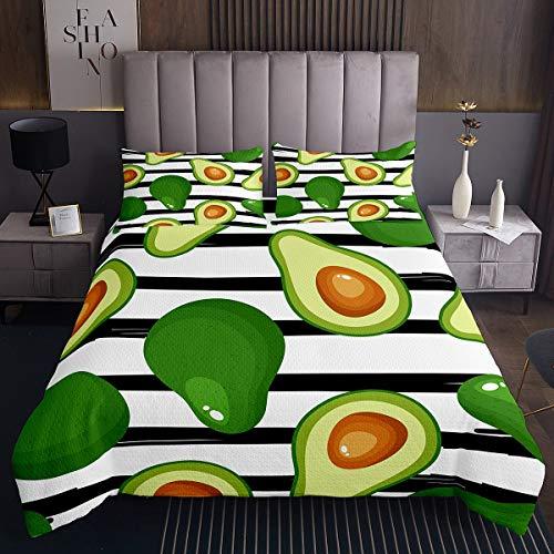 Tbrand - Set di trapunte con motivo frutta avocado, per bambini, ragazzi, ragazze, colore: nero, bianco, a righe, con stampa tropicale, per camera da letto, 3 pezzi