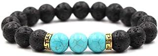 MiniJewelry Mens Black Lava Stone Turquoise Elastic Stretch Bracelet Beaded Blessing Bracelet Gold Spacer Gift for Dad Boy...