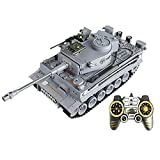 Ycco Large1: 18 Scale German Tiger Panzer RC Tanque con cable cargador USB Tanque de control remoto 1:18 Con batería, luz de sonido Torreta giratoria y acción de retroceso Cuando los disparos de artil