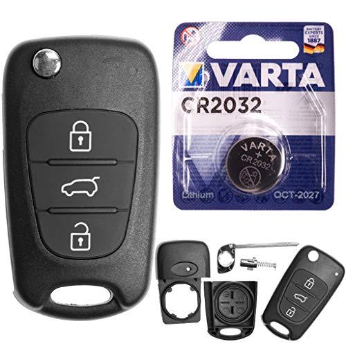 Autoschlüssel Funk Fernbedienung Austausch Gehäuse mit 3 Tasten + Rohling + Batterie kompatibel mit Hyundai i20 PB i30 FD Elantra ix20 JC ix35 Veloster