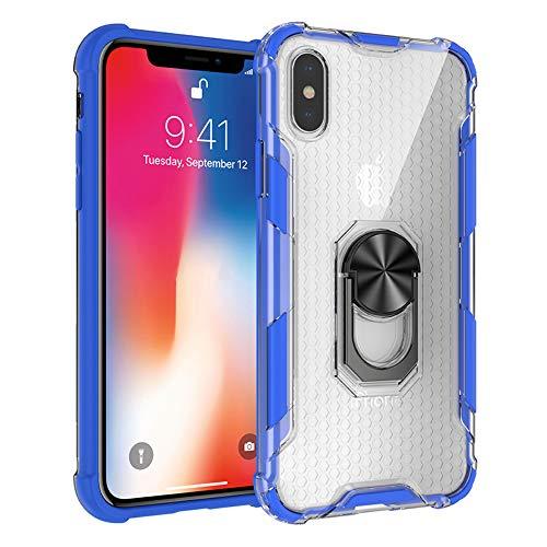 Oihxse Case ersatz für iPhone 12 Hülle mit 360 Grad drehbare Ring Halterung Weiches Ultradünn Stoßfest Schutzhülle mit Hard PC+Silikon Bumper Hülle,für Handyhalterung Auto KFZ Magnet-A10