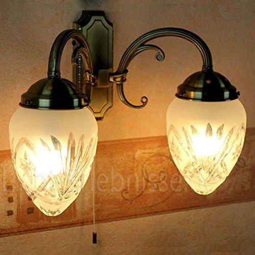 Edle Wandleuchte in Bronze Jugendstil inkl. 2x 3W E14 LED 230V Wandlampe aus Metall & Glas für Wohnzimmer Schlafzimmer Flur Lampen Leuchte Beleuchtung innen