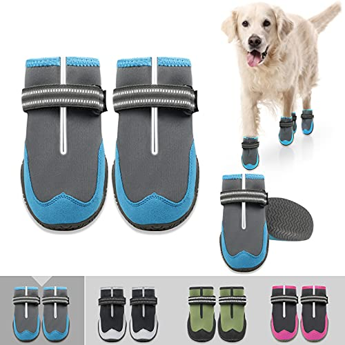 KEIYALOE Dog Shoes for HotPavement DogsBoots Heat Protection Paw Breathable Non-Slip WaterproofAdjustable Reflective Strapsfor Small Medium Large Dogs