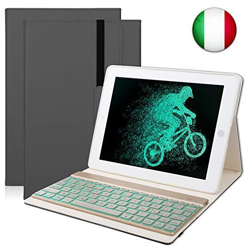 SENGBIRCH Custodia Protettiva per iPad 2/3/4, Cover Protettiva Slim Fit con Tastiera Bluetooth Wireless Staccabile per iPad 2/3/4 (Nero)