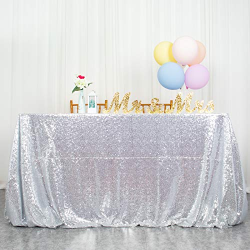 ShinyBeauty Tovaglia con Paillettes Argento Lino da Tavolo con Paillettes per tovaglie Natalizie Tovaglia da Pulire Rettangolare per Matrimoni/Feste 60 x 102 Pollici