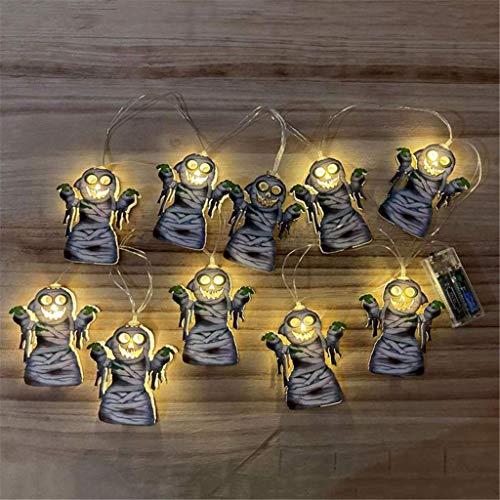 Xiongz Guirnalda de luces para Halloween, 10 luces LED, accesorios de iluminación de bruja, caja de batería, decoración para Halloween, Navidad, festivales (color negro3)