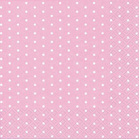 20 Servietten weiße Mini-Punkte auf Rose/gepunktet/Muster/zeitlos 33x33cm