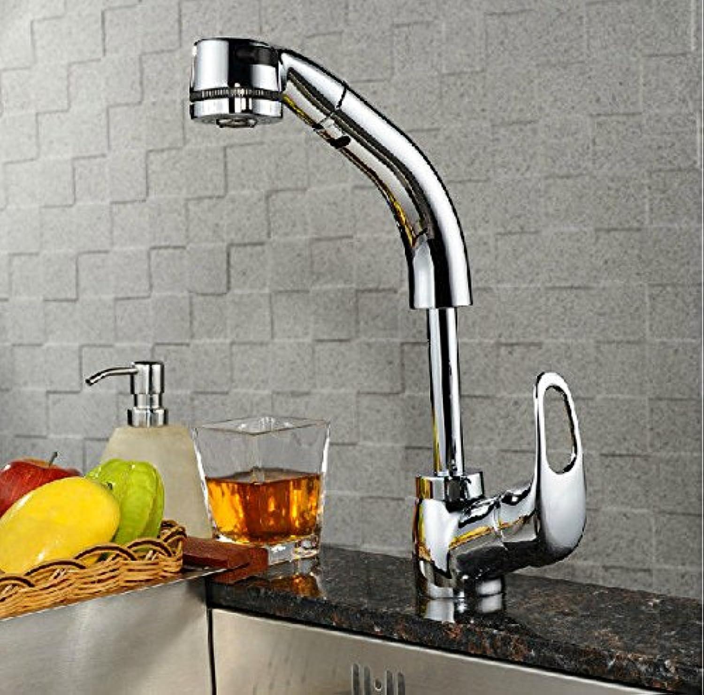 Einfache kupferne heie und kalte Wasserhhne Küchenarmatur Küchenarmatur volles Kupferchrom kann den Aufzug Küchenarmatur heie und kalte Waschbeckenarmatur ziehen Geeignet für alle Badezimmer-