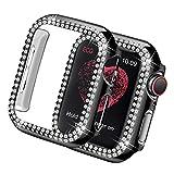 Yolovie Custodia Compatibile per Apple Watch Serie 3 2 Cassa operchio Viso Diamanti di Cristallo Bling Strass Lucido, Cornice Protettiva per iWatch Donna Ragazze. 42mm Nero