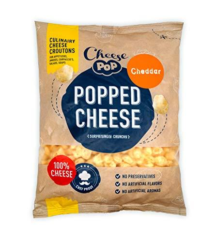 Cheesepop Popped Cheese Snack - 100% Käse ...überraschend knusprig! clean label - natürliches Produkt - vegetarisch - keine Kohlenhydrate - Keto - proteinreich - glutenfrei (Cheddar, 1x Beutel 500g)
