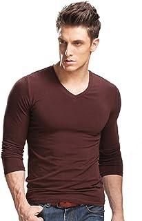 XUDIAN Long Sleeves Men T-Shirt Crew-Neck V-Neck