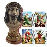 Heraldys.- Figura Busto Cristo de Limpias 15 cms. De Regalo estampas de San Pancracio, San Expedito, San Judas Tadeo y San Miguel.
