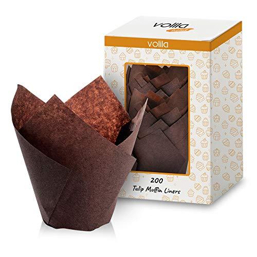 Tulpen Muffinförmchen mit fettdichtem Papier für Cupcakes, braune Backformen und Muffinförmchen, für Hochzeiten, Geburtstage und besondere Anlässe (200 Stück).