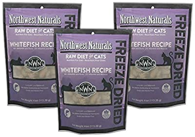Northwest Naturals 3 Pack of Whitefish Freeze-Dried Raw Diet for Cats, 4 Ounces Each, Made in The USA