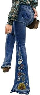 Shujin - Pantalones vaqueros para mujer, estilo retro, cintura alta, con cinturón
