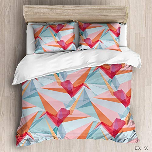 ZGSSSSS 3 Pieces Duvet Cover King Size 3D Origami Paper Crane Duvet Cover Set with 2 Pillowcases 80x80cm Easy Care with Zipper Bedding Quilt Cover for Teen and Adults Bedroom Decro 230x200cm