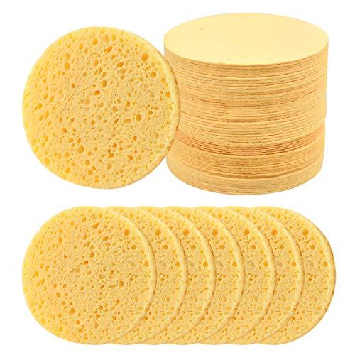50 Stück Rund Gesicht Reinigungs Schwämme Puderquaste, Gelb Komprimierter Cellulose Gesichtsschwamm Kosmetikschwamm, Make-Up Entferner Schwamm Pads für Gesichtsreinigung Gesichtspflege
