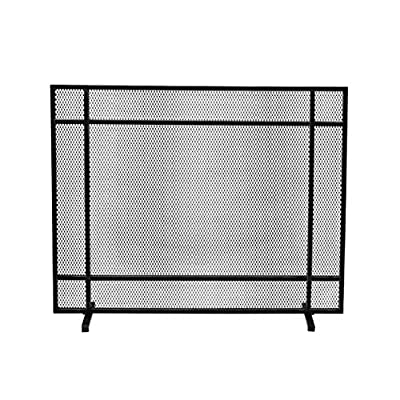 Christopher Knight Home Markus Modern Single Panel Iron Firescreen, Black Brushed Silver Finish by Great Deal Furniture