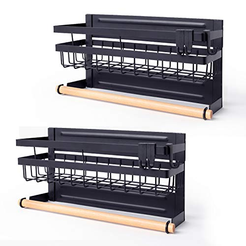 Sleclean Magnetic Spice Rack Organizer for Refrigerator, Pack of 2, magnetic paper towel holder,Refrigerator Organizers and Storage, Multi Use Kitchen Magnetic Shelf,11.8″x4.5″x6.3″,Black