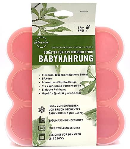 Behälter   Gefrierform   Silikonform zum Einfrieren und Aufbewahren von Babybrei   Babynahrung   Beikost   9 x 75ml, ideale Portionsgröße (Orange)