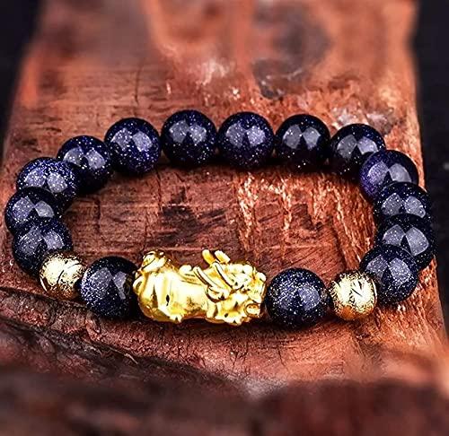 Pulsera china Pulsera hecha a mano Feng Shui Feng shui dorado pixiu riqueza pulsera prosperidad azul oro vietnamita oro pi yao brazalete natural piedras preciosa curativo chakra cristal pulsera amulet