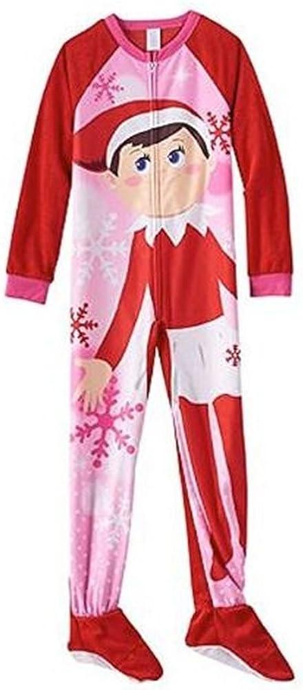 Elf On a Shelf and Snowflake Size 4 Christmas Fleece Footed Pajama Sleeper White, Pink